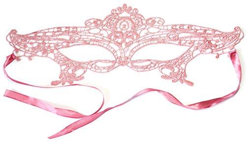 PRESKIN - Spitzenmaske für Karneval, venizianische Verführung aus Spitze für Fasching, rosa Maske für Verkleidung und Party