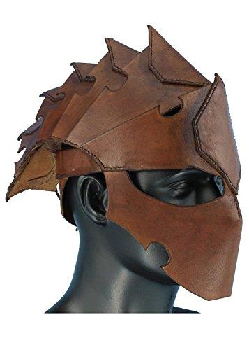 Assassinen-Helm aus Leder LARP Kriegerhelm Drachenhelm Lederhelm Schwarz oder Braun Gr. M oder L Mittelalter Wikinger (M, (Design Kostüm Assassine)