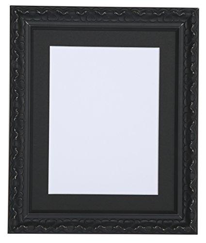 Tailored Frames-Vienna Serie, Vintage Shabby Chic Foto und Bilderrahmen in Schwarz mit schwarzem Passepartout Rahmen 25,4x 20,3cm für A5