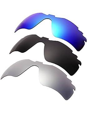 Hkuco Plus Mens Replacement Lenses For Oakley RadarLock-Edge Blue/Black/Titanium Sunglasses