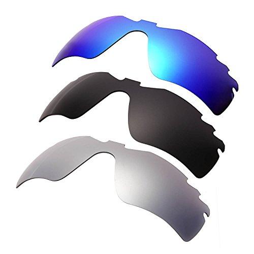 HKUCO Plus Mens Replacement Lenses For Oakley Radar Path-Vented Blue/Black/Titanium Sunglasses