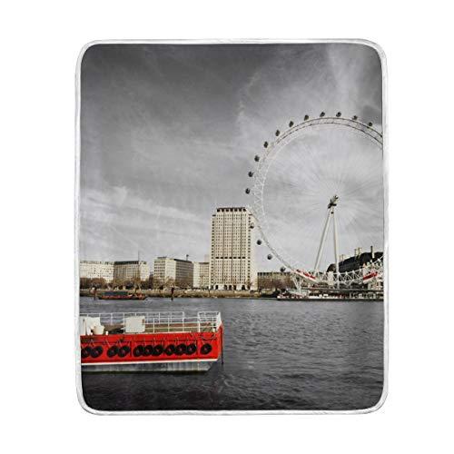 CPYang River Thames London Eye Manta Suave Microfibra Regalo Cama sofá Mantas...