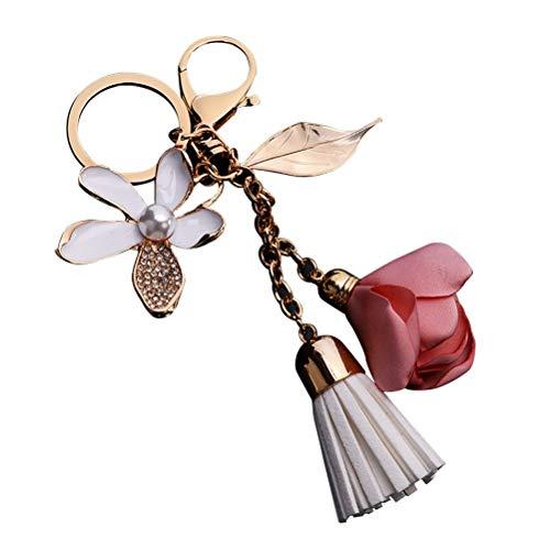 Tclothing Tassel Key Fob Key Ring Crystal Pendant with Flower Leaves For Keys Handbag Bag Purse Rucksack accessories (Pink)
