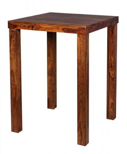 FineBuy Bartisch Massivholz Sheesham 80 x 80 x 110 cm Bistro-Tisch modern Landhaus-Stil Holz-Steh-Tisch quadratisch dunkel-braun Natur-Produkt Massiv-Holz-Möbel Hausbar Esstisch Echt-Holz unbehandelt