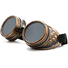 WELDING CYBER GOGGLES Schutzbrille Schweißen Goth cosplay STEAMPUNK COSPLAY GOTH ANTIQUE VICTORIAN WITH SPIKES Includes FREE set Lense Shades UV400 Protection Morefaz(TM)