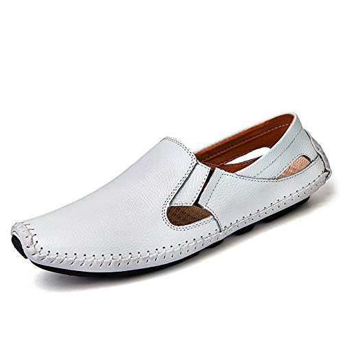 TONGDAUR Männer Fahren Müßiggänger Lässig Und Mode Sommer Hohl Atmungsaktive Leder Boot Mokassins Kleid Schuhe Lederschuhe für Herren (Color : Weiß, Größe : 45 EU) (Herren-boot-kleid)