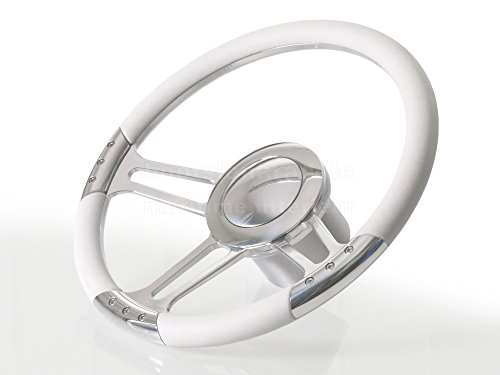 Premium Bootslenkrad Modell tribus Leder weiß inkl. Adapter (Regal Adapter)