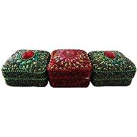 decorativo di monili fatti a mano in alluminio materiale lac custodia rosso verde set di 3 pezzi di natale articolo da regalo