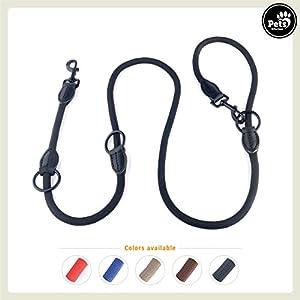 Pets&Partner® Hundeleine aus Nylon / Doppelleine / geflochten in verschiedenen Farben für mittelgroße bis große Hunde passend zu Halsband und Geschirr, Schwarz mit schwarzen Karabinern