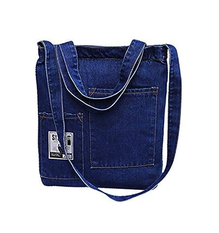 Crafeel Womens Girls Denim Tote Bag Shoulder Bag Handbag with Zip (Dark Blue TB)