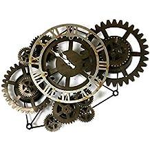 BGGZXX Reloj de Pared Reloj Retro Engranaje Viento Industrial, Montado en la Pared Tipo Hueco