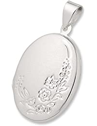Schmuck-Pur 925/- Silber Medaillon-Anhänger Florales-Design