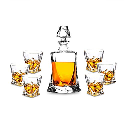 KANARS 7-teiliges Whisky Karaffe Set, Bleifrei Kristallgläser, 800ml Whiskey Dekanter mit 6x 300ml Gläser, Hochwertig, Schöne Geschenk Box (Dekanter Kristall)