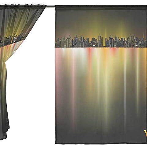 jstel 2Pcs Voile Fenster Vorhang, Night City Bling Light, Tüll Sheer Vorhang Tuch Querbehang 139,7x 198,1cm Zwei scheibenelementen Set, Polyester, blau, 55x78x2(in)