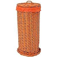 VilyS House-Portarrollos Papel Higiénico De Mimbre Naranja con Forro Tela