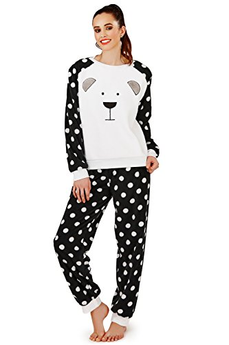 Femmes Loungeable Boutique Sherpa Ours En Peluche Costume Capuche Or Set Pyjama Black White Spot PJ