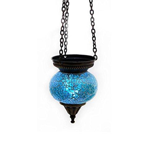 Mosaik Lampe Hängelampe Windlicht Pendelleuchte Aussenleuchte Deckenleuchte aus Glas blau Teelichthalter Orientalisch Handarbeit dekoration - Gall&Zick