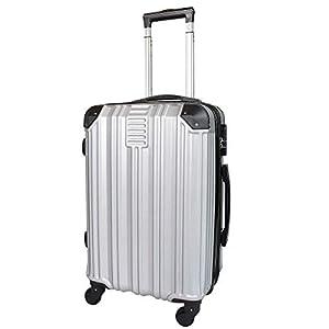 Todeco – Carry On Suitcase, Cabin Luggage, Tamaño (Ruedas Incluidas): 56 x 38 x 22 cm, 4 Ruedas de rotación de 360 °, Llevar-en 51 cm, Plateado, ABS, Protected Corners, Double Layer Zipper