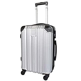 Todeco – Carry On Suitcase, Cabin Luggage, Tamaño (Ruedas Incluidas): 56 x 38 x 22 cm, 4 Ruedas de rotación de 360 °, Llevar-en 51 cm, Plateado, ABS, Protected Corners, Double Layer Zipper