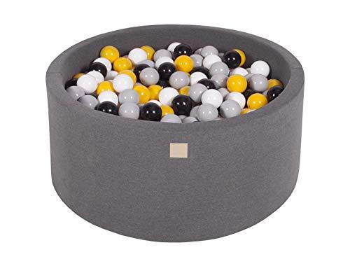 MeowBaby 90X40cm/300 Balles ∅ 7Cm Piscine À Balles pour Bébé Rond Fabriqué en UE Gris Foncé: Gris/Blanc/Noir/Jaune