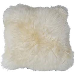 Cojín de piel de oveja - MERINO 45 x 45 cm suave tierno Piel verdadera Cojín decorativo + Cojín interior de Plumas - Champagne