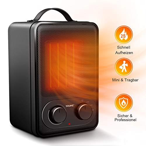 Heizlüfter, DOUHE Heizung Elektroheizung 1800W Keramik Heizluefter Energiesparend Heizstrahler mit Thermostat Überhitzungs-& Umkipp-Schutz schnell aufheizen für Badezimmer Wickeltisch Bad
