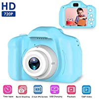 Womdee Mini 2.0 Inch Color IPS Screen 8MP Video Camera with HD Videos Recorder 1080P with Anti-Drop Silicone Shell Support 32GB SD Card for 3 4 5 6-10 Years Kids (Blue)
