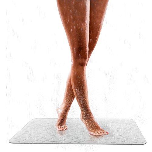 Pumpko Elegante Badewannenmatte Rutschfest | 40 x 70cm | Weiß | Duschmatte aus Naturkautschuk | Antirutsch Badewanneneinlage & Duscheinlage