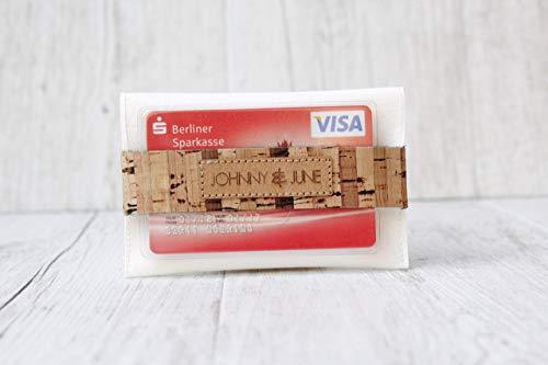Kleingeld Börse aus Kunst-Leder in WEISS mit Verschlussriemen aus Kork-Leder in GESTREIFT. (Visitenkartenetui Vegan)