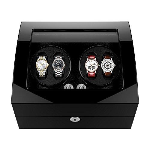 Automatische uhrenbeweger 4+6 Uhren drehende hölzerne selbstaufziehende Uhrenbeweger für Rolex Automatikuhren für automatische Uhren super leiser Motor 6 U/ min 4 Modus Geräuschpegel-5dB watch winder Wurzel holz uhrmacherwerkzeug uhrenaufbewahrung fuer automatikuhren