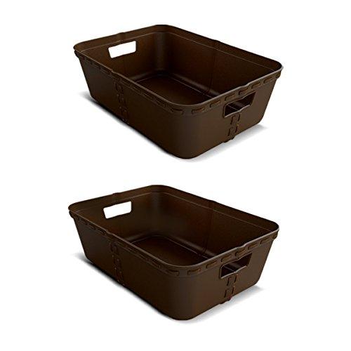 Korb Set Aufbewahrungs- Körb - Korb Geflochten, Korb Kunststoff - Schmink Aufbewahrung - 35×24.5×11 cm - Pack 2 -
