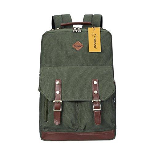 Imagen de fafada  vintage canvas moda unisex laptop  bolso para escuela acampar viajes armygreen
