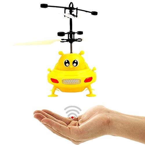 Fliegendes UFO (Gelb) - ALIEN - Mit hellen LED Lichtern!Einfach zu Steuern mit der Hand ab 8 Jahren!Das Spielzeug für Jung und Alt!Der Megaspaßauf jeder Kinderparty,Astronaut,Super Hero,ET,Gadget
