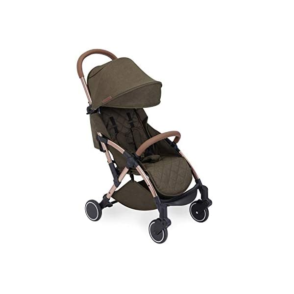 Ickle Bubba Globe Prime Baby Stroller | Lightweight and Portable Stroller Pushchair | Folds Slim for Ultra Compact Storage | UPF 50+ Extendable Hood and Baby Carriage Accessories | Khaki/Rose Gold Ickle Bubba ONE-HANDED 3 POSITION SEAT RECLINE: Luxury baby stroller suitable from birth to 15kg-approx. 3 years old; features luxury soft quilted seat liner, footmuff, cupholder, buggy organiser, storage bag and rain cover UPF 50+ RATED ADJUSTABLE HOOD: Includes a peekaboo window to keep an eye on the little one; extendable hood-UPF rated-to protect against the sun's harmful rays and inclement weather ULTRA COMPACT AND LIGHTWEIGHT: Easy to transport, aluminum frame is lightweight and portable-weighs only 6.4kg; folds compact for storage in small places-fits in aeroplane overhead; carry strap and leather shoulder pad included 11