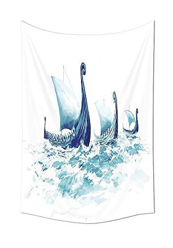 asddcdfdd - Tapiz de decoración para el hogar, retrato de dragones vikingos en aguas nordicas y rugosas, barcos de madera de mar escandinavo para colgar en la pared para dormitorio, sala de estar, dormitorio, tela, 59W By 80L Inch