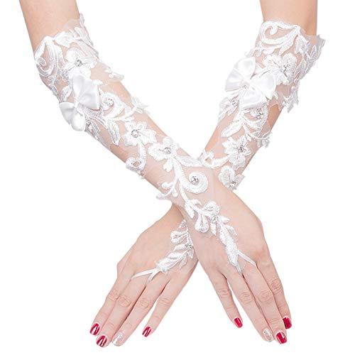 DÉCOCO Braut Weiß Fingerlose Elastischer Spitze Braut Handschuhe -