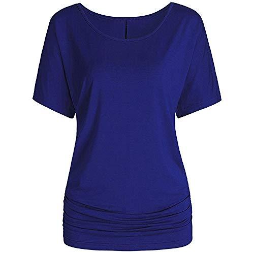 LOPILY Sommer T-Shirt Kurzarmshirt Damen Elegante Übergröße Kurzarm Gekräuselte Geraffte Shirts Blusen Tops Sommer Lässige Unregelmäßiger Saum Falten Bluse Oberteil Neckholder Volant-kleid