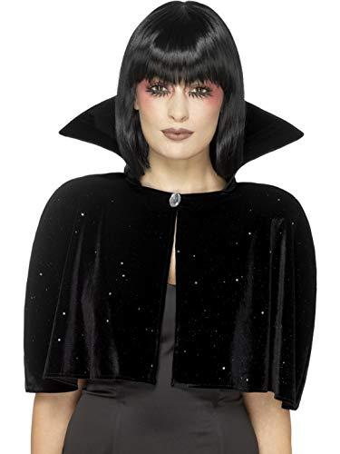 Halloweenia - Damen Frauen böse Königinnen Evil Queen Cape Umhang mit hohem Kragen Kostüm im Stola Style, perfekt für Halloween Karneval und Fasching, One Size, Schwarz