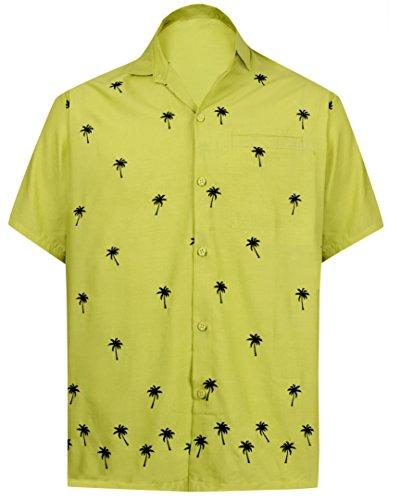 LA LEELA männer Hawaiian Hemd Kurzarm Button Down Kragen Fronttasche Beach Strand Hemd Manner Urlaub Casual Herren Aloha Senf_90 XS Viskose einfach - Button-down-vintage-sport-shirt