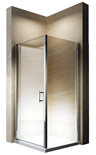 Duschabtrennung EX416-Kombi ESG-Glas Nano Hebe-Senk-Funktion Eckdusche Drehtür, Maße Duschkabine:90x90cm, Duschtasse:Ohne Duschtasse