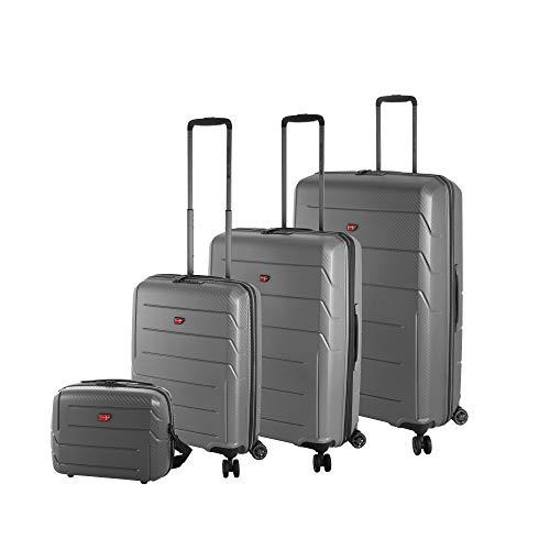 Hochwertiges 4-Teiliges 100% Polypropylen Reise Koffer-Set Von Cronshagen klein-mittel-groß Trolley mit Hartschale, 4X 360° Rollen, TSA-Schloss, inkl. Kosmetikkoffer (grau metallic) Metallic-stich