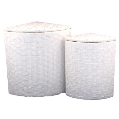 FRANZ MÜLLER Eck-Wäschebehälter Groundwood weiß mit Textilgarnitur HÖHE 47 CM