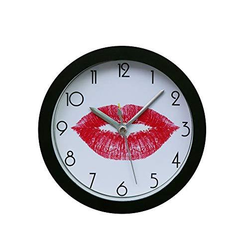 Dtuta Valentinstag Rote Lippen Nach Hause Geschenk Praktisch, Kompakt Einfach Tischuhren Wecker Batteriebetrieben Retro