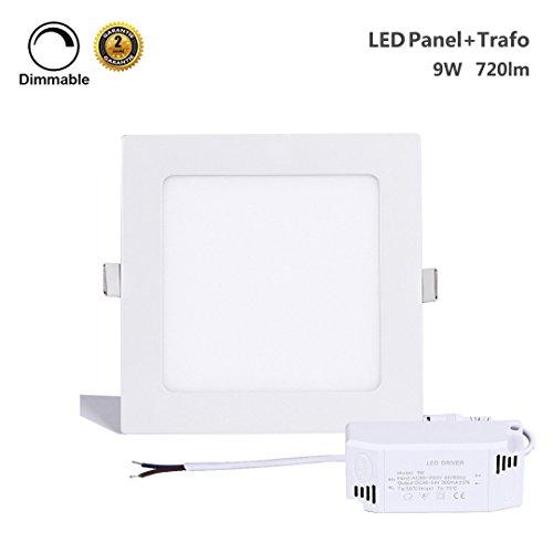 Panel 2 (ProGreen 9W LED Panel, eckig, dimmbar, sehr flach, Warmweiß (3000K), ersetzt 60W Leuchtstoffröhren, 220V, 720Lumen, LED Deckenleuchte, LED Panellampe, Einbaustrahler, 2 Jahre Garantie)