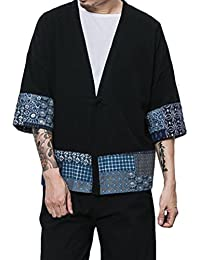 Zhhlinyuan Hommes Japonais Style Kimono Robe Cloak Men Women One Button  Short Sleeve Open Front Short
