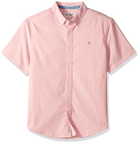 Mens Short Sleeve Oxford Shirt (Original Penguin herren Original Penguin Men's Short Sleeve Stretch Oxford Shirt  Button Down Hemd  -  orange - )