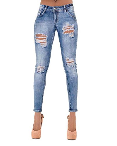 Donna Pantaloni Skinny Alta Elastici Slim Fori Jeans Blu XS