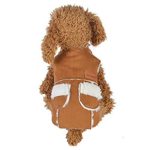Malloom Winter Warm Verdickung Nachahmung Der Lederjacke Jacke Haustier Hunde Kleidung Pullover mit Tasche Arme Jacke für den Winter/Herbst, Winddicht -