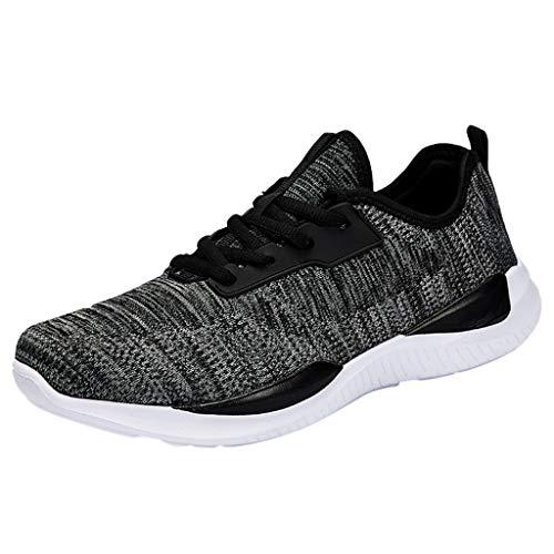 SHE.White Herren Rutschfeste Dämpfung Sneakers Atmungsaktiv Straßenlaufschuhe Fitnessschuhe Sportschuhe Turnschuhe Laufschuhe Knit Schnüren Schuhe