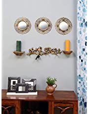 @home by Nilkamal Birds Wall Decor & Mirror Combo Set of 6, Gold